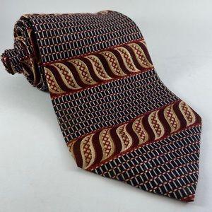 Perry Ellis 100% Italian silk tie stripe geometric